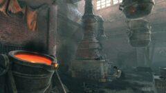 a pot next to a fireplace