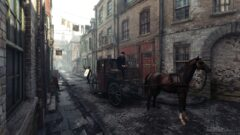 a horse drawn carriage on a city street