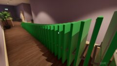 a close up of a green room