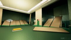 a large empty room with green walls