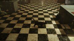 a dog sitting on a tile floor