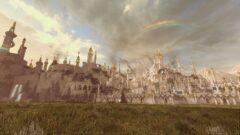 a rainbow over a field