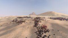 a flock of sheep in a desert