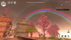 a rainbow in the background