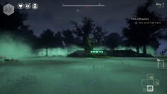 a screenshot of a video game with a green light