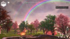 a rainbow over a city street