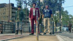 a group of people walking on a sidewalk