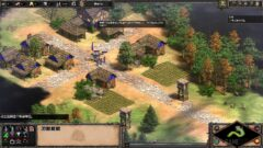 a screenshot of a video game in a garden