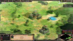 a screenshot of a video game on a green field