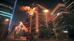 a building on fire at night
