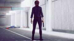 a man standing on a sidewalk