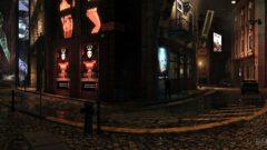 a lit up city street at night