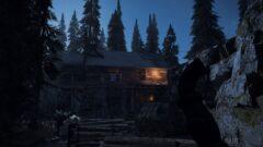 a man in a dark forest