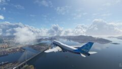 a plane flying over a large body of water