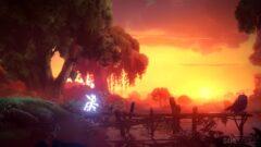 a sunset over a fire
