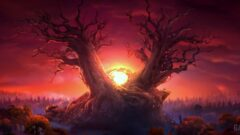 a tree in front of a sunset