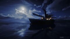 a large ship in the dark