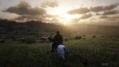 a man riding a horse in a field
