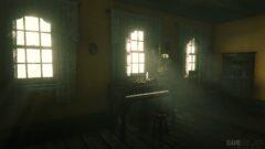 a window in a dark room