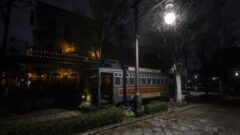 a train on the tracks at night