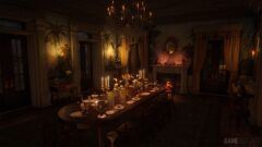 a long table in a dark room