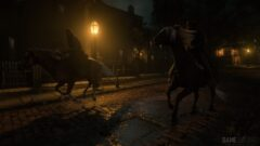 a horse that is walking in the dark