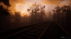 a train on a train track with trees in the dark