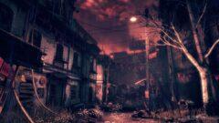 a dark city street at night